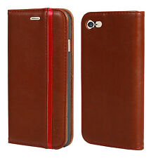 Magnetic PU Leather Flip Wallet Case Cover For Apple iPhone 7 -Leather Brown