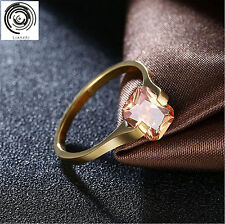 Gold Plated Ring Women Weeding Rings  Engagement Lady's Rings Square Rhinestone