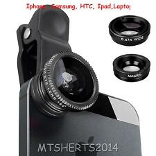Universal 3in1 Clip On Camera Lens Kit Fish Eye Macro Wide Angle Iphone Samsung