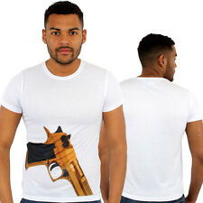 Monkey Business color oro Pistola stampa t-shirt aderente