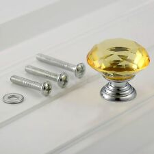 30mm Yellow Knobs Crystal Diamond Glass Cabinet Drawer Cupboard Door Handle Pull