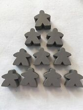 Wooden Meeples / Carcassonne Spares / Grey - 16mm  x 10pc - UK SELLER! Free P&P
