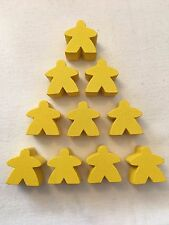 Wooden Meeples / Carcassonne Spares / Yellow - 16mm x 10pc - UK BASED! Free P&P