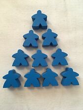 Wooden Meeples / Carcassonne Spares / Blue - 16mm  x 10pc - UK SELLER! Free P&P