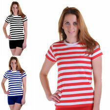 Ladies Womens Stripped Shirt Fancy Dress Stripe Short Sleeve Cotton T Shirts