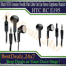 Black OEM Genuine HTC RC E195 Noodle Flat Cable Out Ear Stereo Earphones Headset