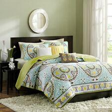 6pc blue brown green patterned bright colorful quilt bedspread coverlet sham set
