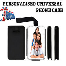 PERSONALISED PHONE CASE UNIVERSAL FAUX LEATHER FLIP COVER CUSTOM NAME