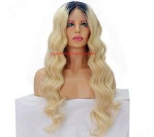 """Remy Human Hair Wig Full Lace Ombre Dip Dye1b-Roots/Blonde-613 Bodywave 14""""- 24"""""""