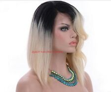 """Remy Human Hair Wig Full Lace Ombre Dip Dye1b-Roots/Blonde-613 14""""- 24"""""""