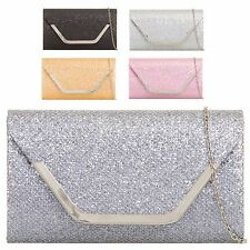 Ladies Glittery Envelope Clutch Bag Cocktail Party Purse Wallet Handbag KH831