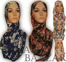 Floral Chiffon Hijab Printed Flowers Maxi Crepe Scarf Summer Colours