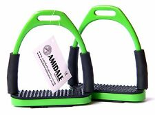 FLEXI SAFETY STIRRUPS HORSE RIDING BENDY IRONS STAINLESS STEEL GREEN BNWT