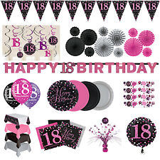 18th Birthday Party Decorations Pink Silver Tableware Plates Cups Napkin Cutlery