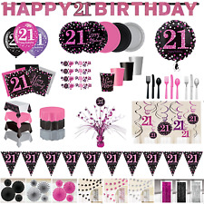 21st Birthday Party Decorations Pink Silver Tableware Plates Cups Napkin Cutlery