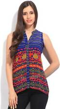 Global Desi Casual Sleeveless Printed Womens Blue, Red Top(Flat 50% OFF) -8W2