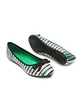 Carlton London Women Green & Muted Gold-Toned Woven Ballerinas-GVR