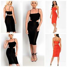 Womens Black Orange Slinky Strappy Side Cut Out Detail Midi Bodycon Dress 6-14