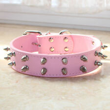 "1.2"" Leather 2 Rows Spiked Studded Dog Collars for Medium Large Pitbull Terrier"