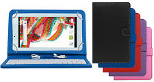 Premium Leather Finished Keyboard Tablet Flip Cover For Ambrane A3-7 Plus Duo