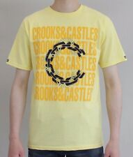 Mens Crooks & Castles Chain Mob Optimized T-Shirt - Yellow - NEW 2017