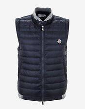 New Moncler Navy Blue Down Padded Contrast Fabric Gilet Size M BNWT RRP £410
