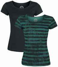 RED by EMP Roundneck Double Pack Maglia donna nero/verde
