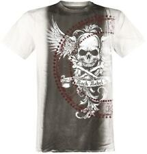 Rock Rebel by EMP Wings Skulls Shirt T-Shirt grigio/bianco