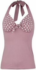 Pussy Deluxe Dotties Loop Halterneck Top donna rosa pallido