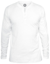 RED by EMP Basic Henley Manica lunga bianco