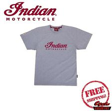 GENUINE INDIAN MOTORCYCLE BRAND COTTON T-SHIRT TEE GRAY MARL MEN'S SCOUT CHIEF