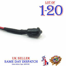 3mm 12V DC Light Emitter Ultra Bright Clear Pre-Wired LED 20cm Cable with Holder