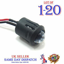 10mm 12V DC Light Emitter Diffused Pre-Wired LED 20cm Cable Diode + Holder