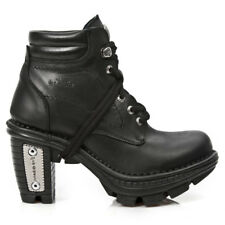 New Rock Leder Gothic EBM Metal Ankle Boots Stiefel Stiefelette M.NEOTR002-S1