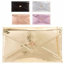 Ladies Patent Leather Clasped Clutch Bag Cocktail Party Purse Handbag KL2042