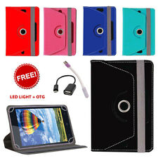 360° ROTATING LEATHER FLIP COVER FOR iBALL 6351 Q40 TABLET WITH LED LIGHT & OTG