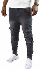 Herren Bikerjeans Denim Destroyed Grey Hose zerissen ST_7028