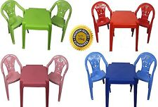 SET OF CHILDRENS KIDS PLASTIC TABLE AND CHAIRS NURSERY SETS INDOOR OUTDOOR PLAY