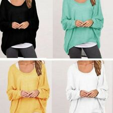 Donna Larga Maglia T-Shirt Manica Lunga donna Batwing Oversize T-shirt Maglione