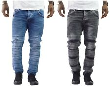 Herren Jeanshose Denim Bikerjeans Destroyed Blau Slim Fit Clubwear Streetwear AT