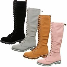 WOMENS SHOES LADIES UNDER KNEE MID CALF WORKER COMBAT BOOTS ZIP LACE UP SIZE NEW