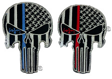 PUNISHER SKULL IRON-SEW ON PATCH RED/ BLUE LINE LAW ENFORCEMENT POLICE SWAT