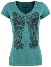 Rock Rebel by EMP Floral Feather Shirt Maglia donna verde acqua