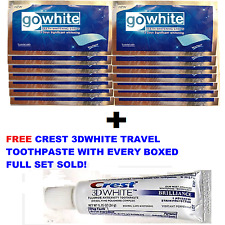 GO WHITE TEETH WHITENING STRIPS + CREST3D TEETH WHITENING TRAVEL TOOTHPASTE