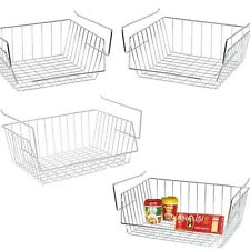 Chrome/White Under Shelf Kitchen Storage Baskets Racks Stainless Steel