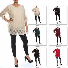 Ladies Floral Sequin Top Lace Tunic Style Womens twin layer crochet blouse size
