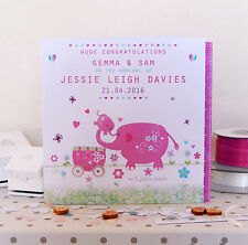 Baby personalised card-Special baby boy or baby girl cute elephant baby cards