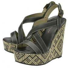 LADIES DOLCIS PATRICE BLACK PLATFORM RAFFIA WEDGES SANDALS PEEP-TOE SHOES