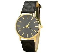 Fashion Women's Leather Stainless Steel Date Dress Quartz Analog Wrist Watch Hot