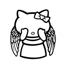 """5"""" HELLO KITTY WEEPING ANGEL Vinyl Decal Sticker Car Window Laptop Dr Who RIP"""